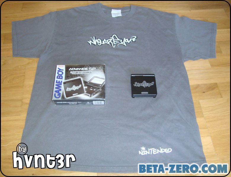 Game Boy Advance SP Who Are You? con Camiseta oficial